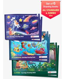 Target A4 Standard & Jumbo Size Drawing Book Set of 6 - 36 Pages each