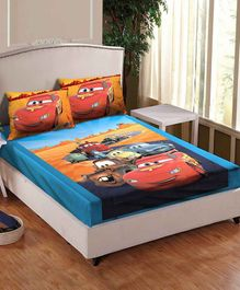 Athom Trendz Disney Pixer Cars Printed Cotton Single Bedsheet with Pillow Cover - Multicolor
