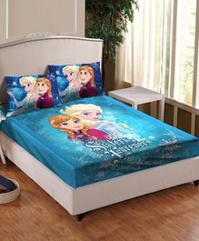Athom Trendz Disney Frozen Printed Cotton Single Bedsheet with Pillow Cover - Multicolor