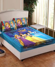 Athom Trendz Disney Princess Printed Cotton Double Bed Sheet with Pillow Cover - Multicolor