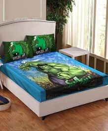 Athom Trendz Marvel Hulk Printed Cotton Double Bedsheet with Pillow Cover - Multicolor