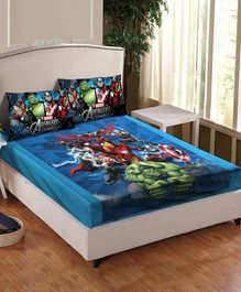 Athom Trendz Avengers Printed Cotton Double Bedsheet with Pillow Cover - Multicolor