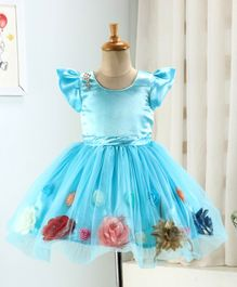 Enfance Flower Applique Cap Sleeves Flared Dress - Light Blue