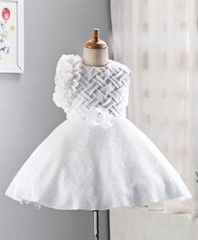 Enfance Rose Flower Decorated Sleeveless Dress - White