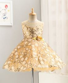 Enfance Sleeveless Square Sequined Flower Decorated Flared Tulle Dress - Gold