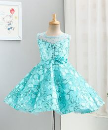 Enfance Sleeveless Square Sequined Flower Decorated Flared Tulle Dress - Blue