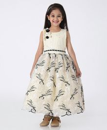 Enfance Sleeveless Flower Applique Flared Gown - Cream