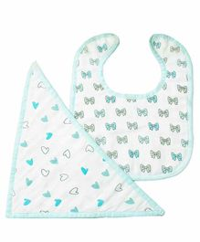 The White Cradle 100% Organic Cotton Feeding Bibs Bow & Heart Print Pack of 2 - Off White Blue