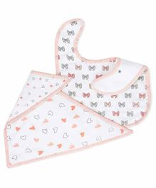 The White Cradle 100% Organic Cotton Feeding Bibs Bow & Heart Print Pack of 2 - Off White Peach