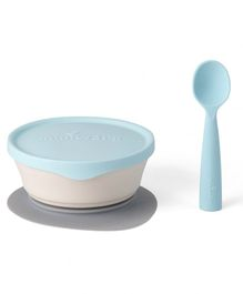 Miniware First Bite Suction Bowl with Spoon - Blue White