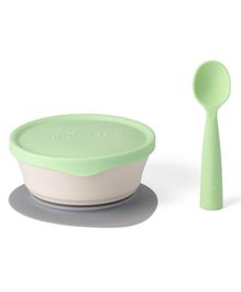 Miniware First Bite Suction Bowl with Spoon Feeding Set - Green White