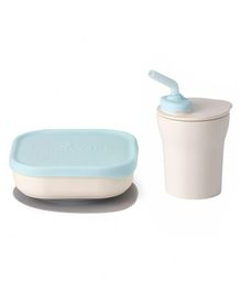 Miniware Sip & Snack Suction Bowl with Sippy Cup - White Blue