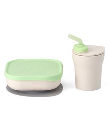 Miniware Sip & Snack Suction Bowl with Sippy Cup - White Green