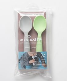 Miniware 100% Food Grade Silicone Teething Spoon Set of 2 - Grey Green