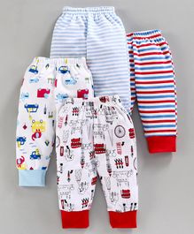 BUMZEE Striped & Car Print Full Length Pack Of 4 Pyjama - Red & Blue