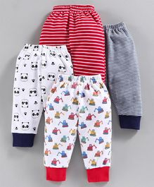 BUMZEE Striped & Panda Face Print Full Length Pack Of 4 Pyjama - Red & Navy Blue