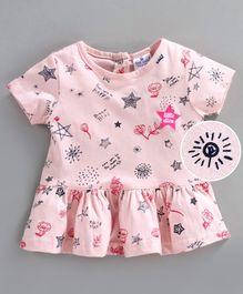 First Smile Half Sleeves Frock Star Print - Pink