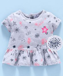First Smile Half Sleeves Frock Star Print - Grey