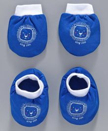 Simply Mittens & Booties Set Lion Print - Blue