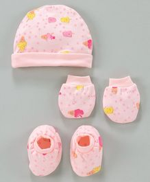 Simply Cap Mittens & Booties Set Star Print - Pink