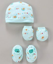 Simply Cap,Mitten & Booties Set Cartoon Print - Green