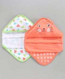 Babyoye Cotton Hooded Baby Wrapper Heart Print Pack of 2 - Peach Green