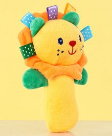 Lion Face Plush Toy Rattle - Yellow
