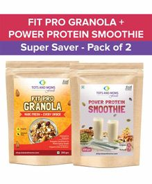 Tots and Moms Foods Fit Pro Granola & Power Protein Smoothie Super Saver Pack of 2 - 200 gm & 100 gm