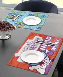 Saral Home Dining Table Place Mats Dexter Print Set of 2 - Blue Red