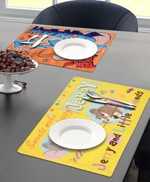 Saral Home Dining Table Place Mats Tom & Jerry Print Set of 2 - Yellow Orange