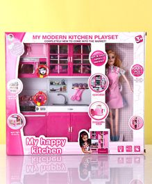 Kitchen Play Set With Doll - Pink