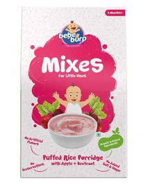 Bebe Burp Organic Baby Puffed Rice Mix Porridge with Apple & Beetroot - 120 gm