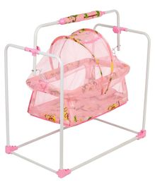 Nhr New Born Baby Swing Baby Cradle Baby Crib Baby Jhula With Adjustable Height And Mosquito Net - Pink