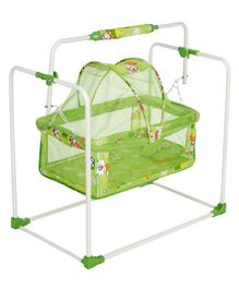 Nhr New Born Baby Swing Baby Cradle Baby Crib Baby Jhula With Adjustable Height And Mosquito Net - Green
