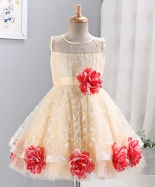 Enfance Sleeveless Flower Applique Fit & Flare Netted Dress - Red