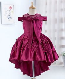 Enfance Half Sleeves Flower Applique Knot Pattern Cold Shoulder Flared Dress - Violet