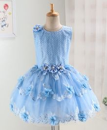Enfance Sleeveless Flower Decorated Dress - Blue