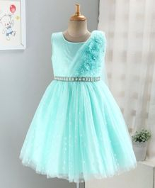 Enfance Sleeveless Flower Decorated Sash Attached Dress - Green