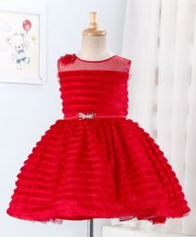 Enfance Sleeveless Tassel Detailed Flared Dress - Red