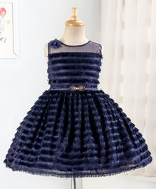 Enfance Sleeveless Tassel Detailed Flared Dress - Navy Blue