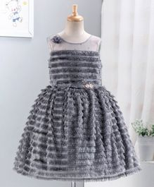 Enfance Sleeveless Tassel Detailed Flared Dress - Grey