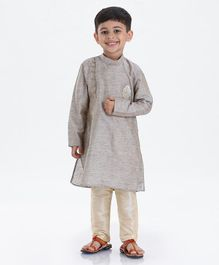 Dapper Dudes Full Sleeves Motif Embroidered Kurta With Pyjama - Grey