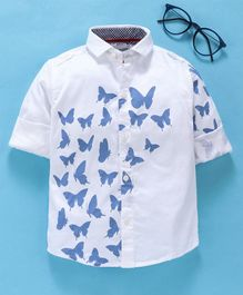 Dapper Dudes Butterfly Printed Full Sleeves Shirt - Blue