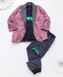 Knotty Kids Full Sleeves Floral Print Blazer With Car Patch Tee & Pants Set - Pink Grey