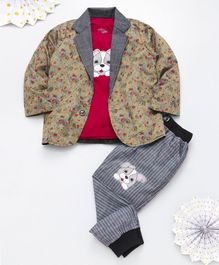 Knotty Kids Full Sleeves Flower Print Blazer With Puppy Patch Tee & Pants Set - Yellow Grey