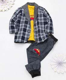Knotty Kids Full Sleeves Checked Blazer With Car Patch Tee & Pants Set - Blue Grey