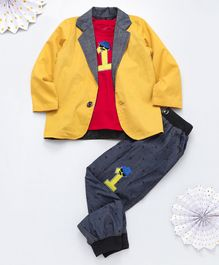 Knotty Kids Full Sleeves Blazer With Number Patch Tee & Pants Set - Yellow Grey