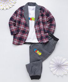 Knotty Kids Full Sleeves Checked Blazer With Tee & Pants Set - Pink Grey