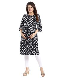 Mamma's Maternity Three Fourth Sleeves Geometric Print Nursing Kurta - Black