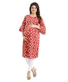 Mamma's Maternity Three Fourth Sleeves Geometric Print Nursing Kurta - Red